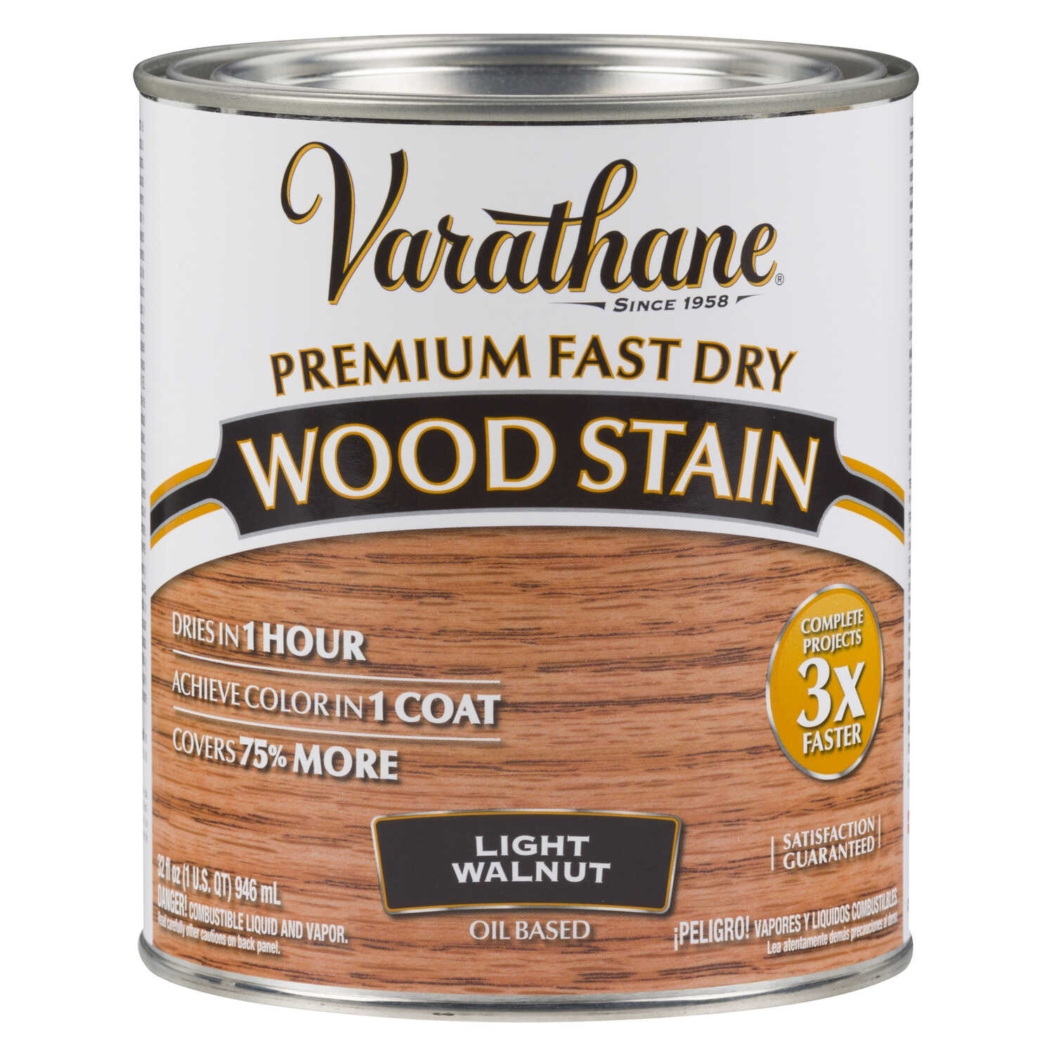 Varathane  Premium Fast Dry  Semi-Transparent  Light Walnut  Wood Stain  1 qt.