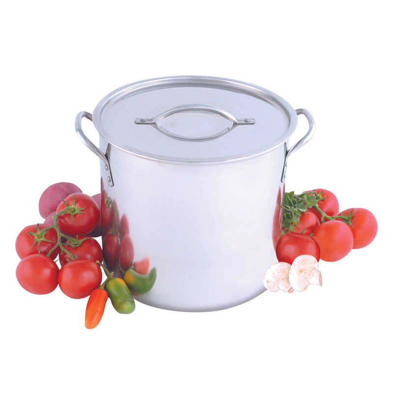 Heuck  Stainless Steel  Stock Pot  12 qt. Silver
