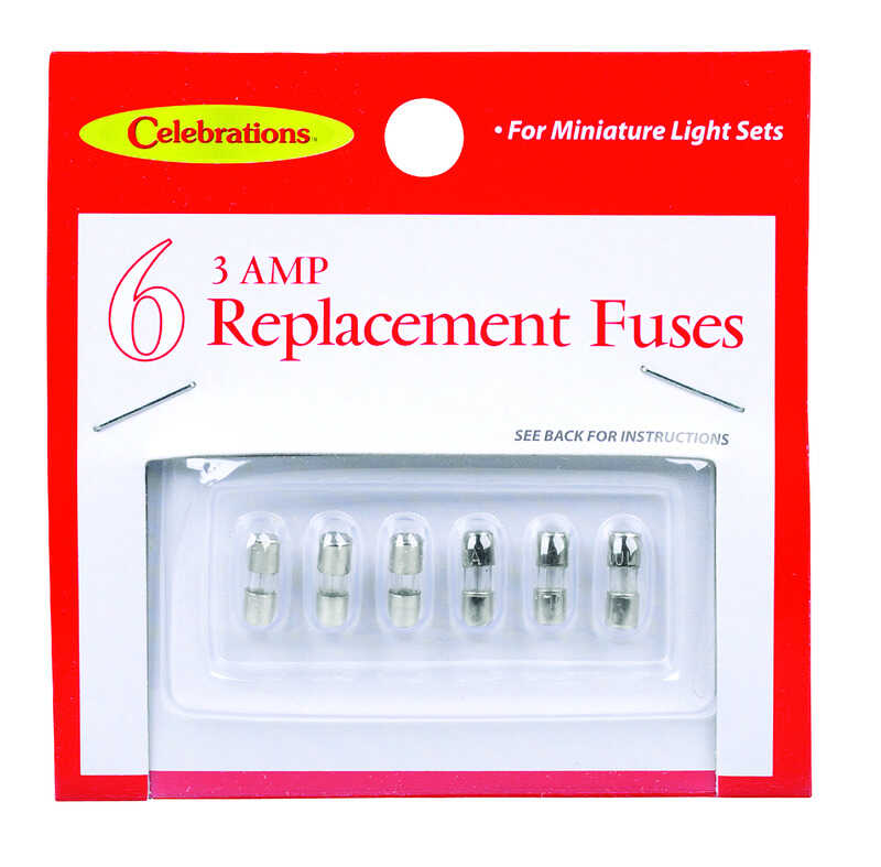 Celebrations  Miniature Light  Replacement Fuses  Clear  6 pk