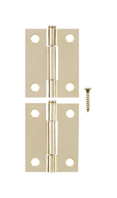 Ace  2.75 in. W x 2 in. L Bright Brass  Brass  Narrow Hinge  2 pk
