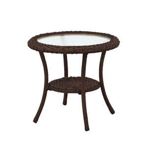 Living Accents  Round  Brown  Glass  Cedarbrook  Side Table