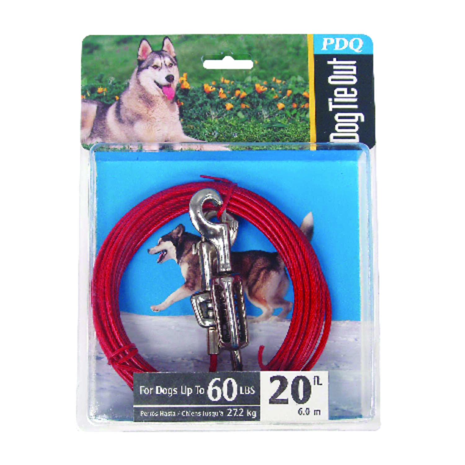 Boss Pet  PDQ  Red  Vinyl Coated Cable  Dog  Tie Out  Large