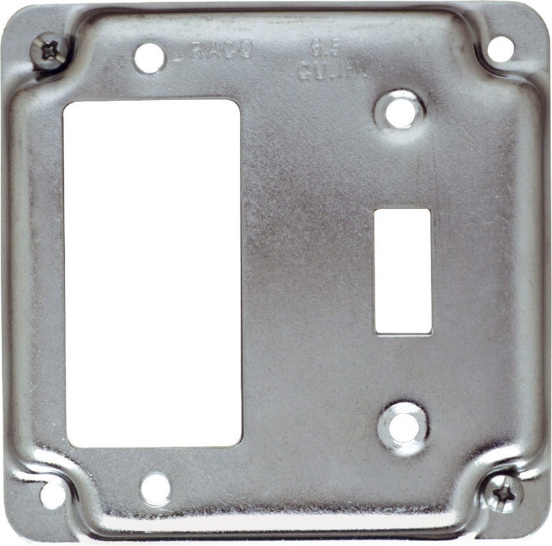 Raco Square Steel 2 Gang Box Cover For 1 Gfci Receptacle