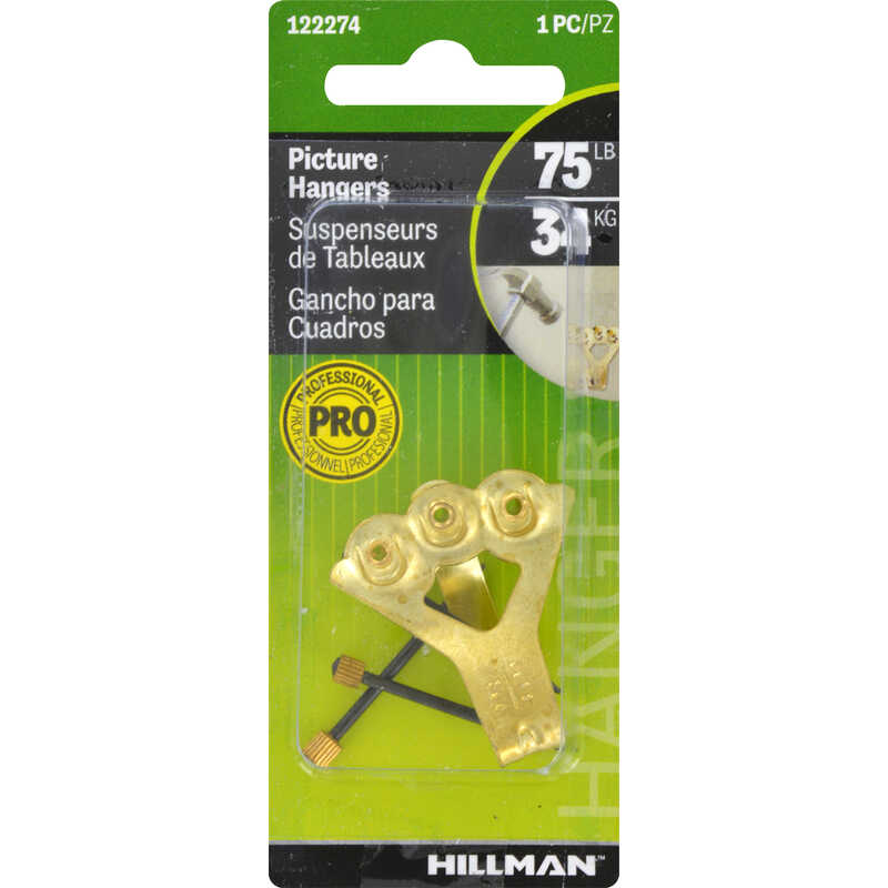 Hillman  AnchorWire  Brass-Plated  Steel  Picture Hanger  75 lb. 1 pk Classic