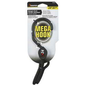 Keeper  Mega Hook  Black  Bungee Cord  24 in. L x 0.315 in.  1 pk