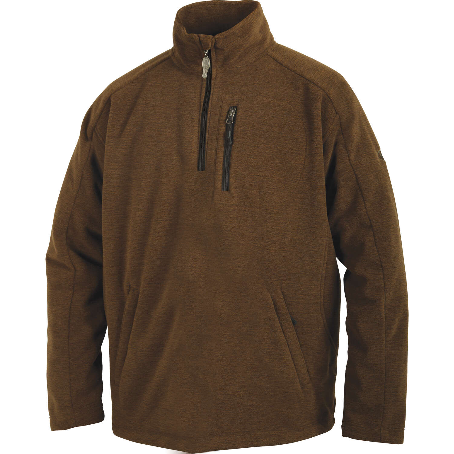 Drake  MST  M  Long Sleeve  Men's  Quarter Zip  Heathered Brown  Pullover