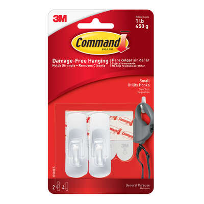 3M Command Small Plastic Hook 2-3/8 in. L 2 pk