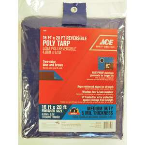 Ace  20 ft. W x 16 ft. L Medium Duty  Polyethylene  Tarp  Blue/Brown