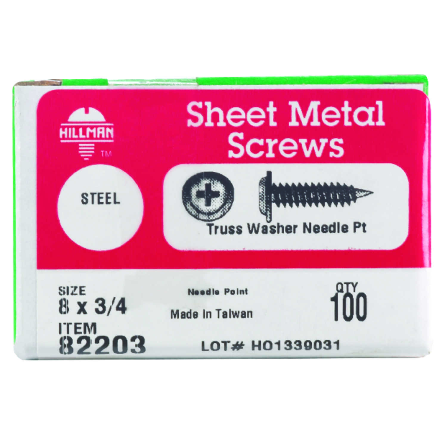 Hillman  8 in.  x 3/4 in. L Phillips  Truss Head Zinc-Plated  Steel  Sheet Metal Screws  100 pk