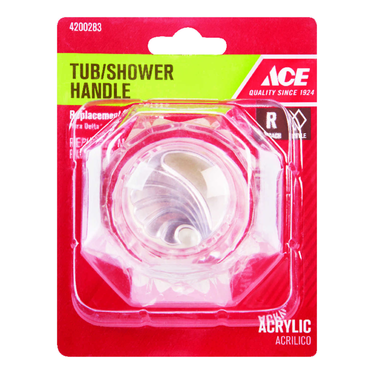 Ace  Broach  Acrylic  Clear  Tub and Shower Handle