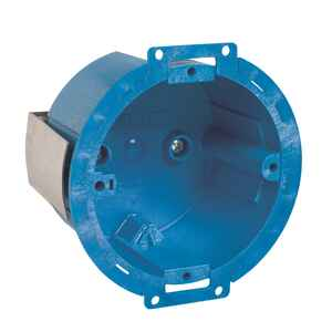 Carlon  Super Blue  3.5 in. 1 Gang  Thermoplastic  Electrical Ceiling Box  Round  1 gang Blue