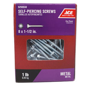 Ace  8 Sizes  x 1-1/2 in. L Hex/Slotted  Hex Washer Head Zinc-Plated  Steel  Self-Piercing Screws  1