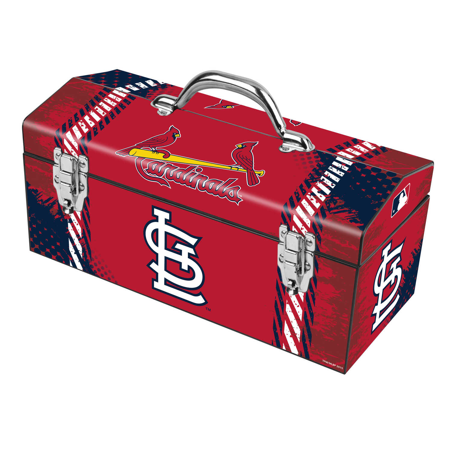 Windco  16.25 in. Steel  St. Louis Cardinals  Art Deco Tool Box  7.1 in. W x 7.75 in. H Blue/Red