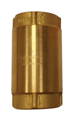 Campbell  1 in. Dia. x 1 in. Dia. Yellow Brass  Spring Loaded  Check Valve