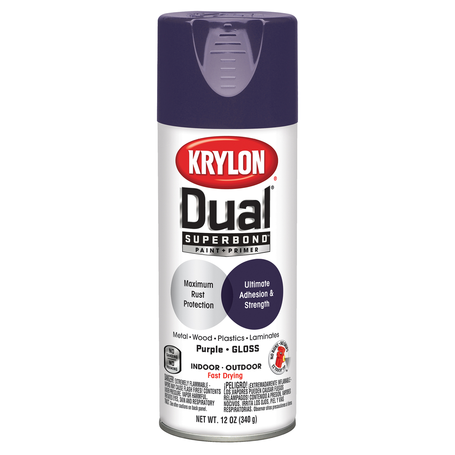 Krylon  Dual Superbond  Gloss  Paint + Primer Spray  12 oz. Purple