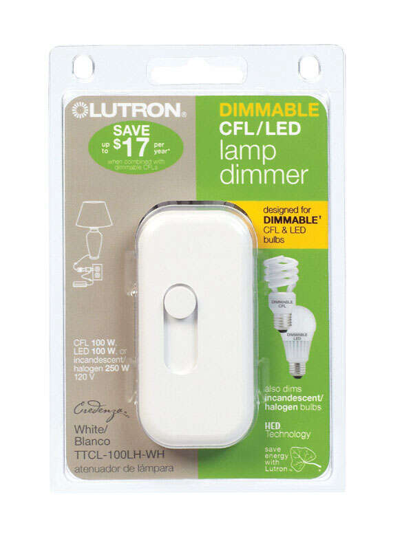 Lutron  Credenza  White  100 watts Plug-In  Dimmer  1