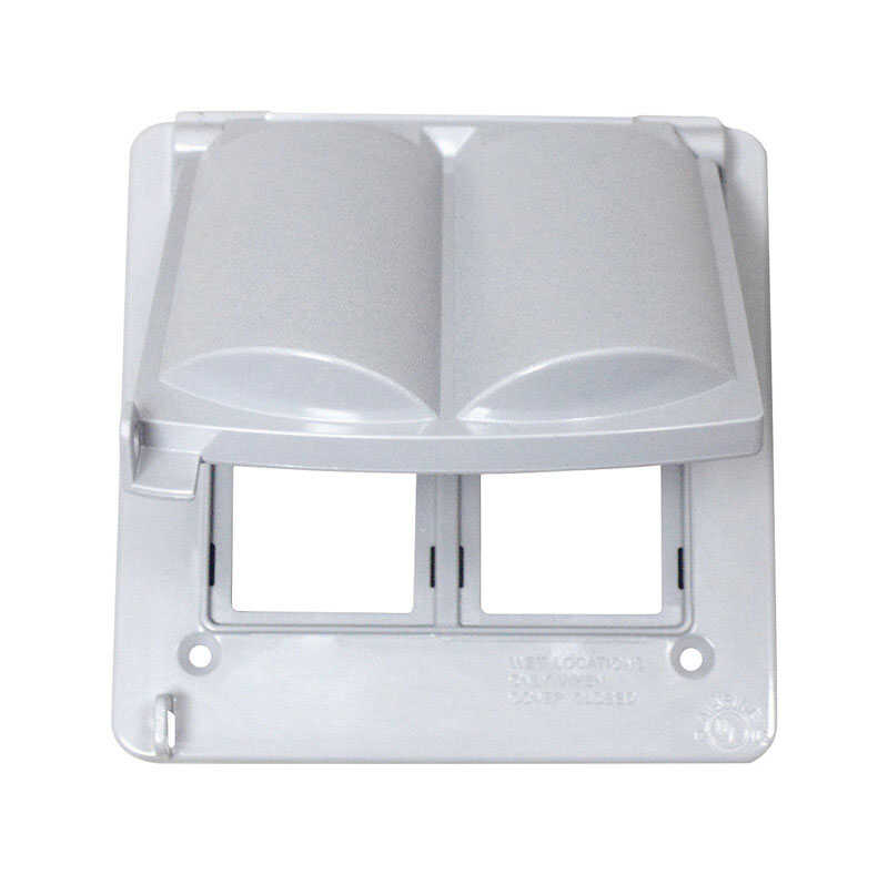 Sigma  Square  Plastic  2 gang Electrical Cover  For 2 GFCI Receptacles