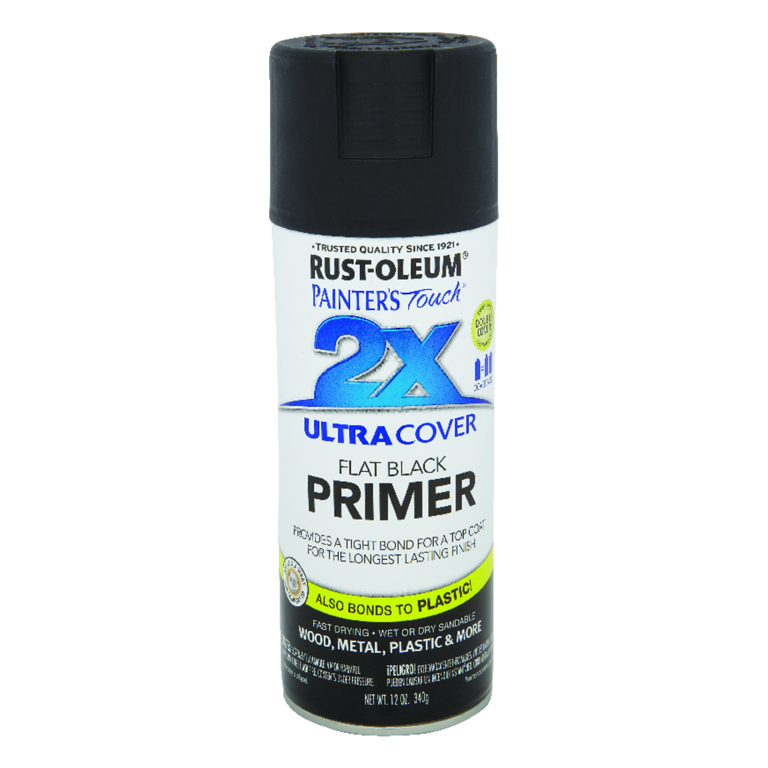 Rust-Oleum  Painters Touch 2X Ultra Cover Primer  Flat  Black  Spray Paint  12 oz.