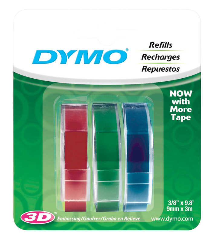 Dymo  3/8 in. W x 9.8 ft. L Blue/Green/Red  Lable Maker Tape