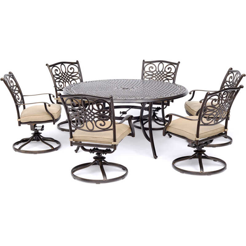 Hanover  7 pc. Brown  Aluminum  Traditions  Patio Set  Tan
