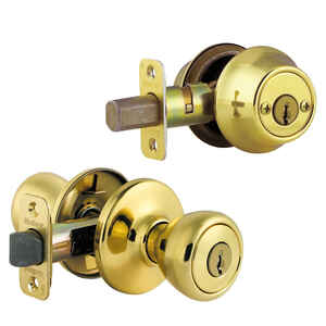Kwikset  Tylo  Polished Brass  Entry Lock and Double Cylinder Deadbolt  ANSI/BHMA Grade 3  1-3/4 in.