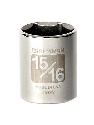 Craftsman 15/16 in. x 1/2 in. drive SAE 6 Point Standard Socket 1 pc.
