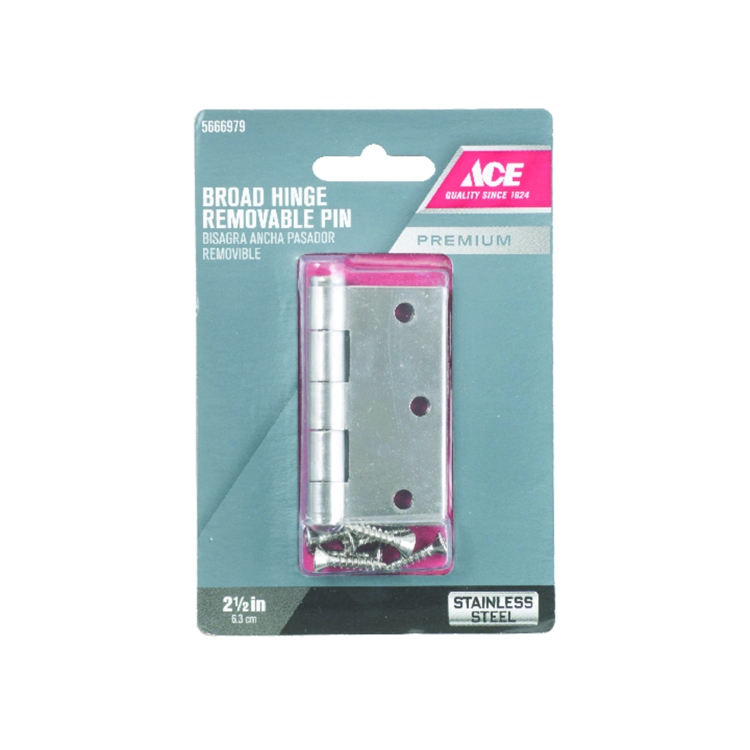 Ace  2-1/2 in. L Stainless Steel  Stainless Steel  Door Hinge  1 pk
