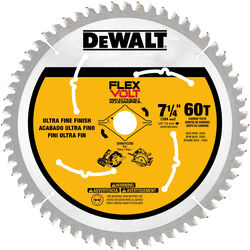 DeWalt  Flexvolt  7-1/4 in. Dia. x 5/8 in.  Carbide Tipped Steel  Circular Saw Blade  60 teeth 1 pk