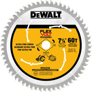 DeWalt  Flexvolt  7-1/4 in. Dia. x 5/8 in.  Circular Saw Blade  Carbide Tipped Steel  60 teeth 1 pk