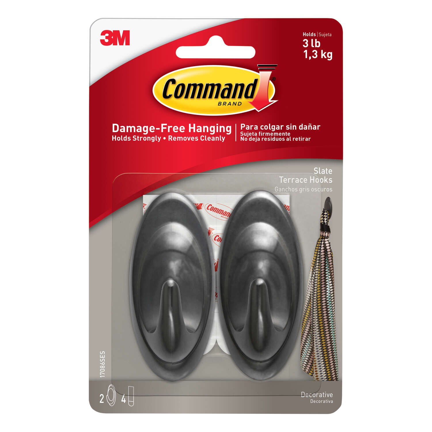 3M  Command  Medium  Plastic  3-1/4 in. L Hook  2 pk