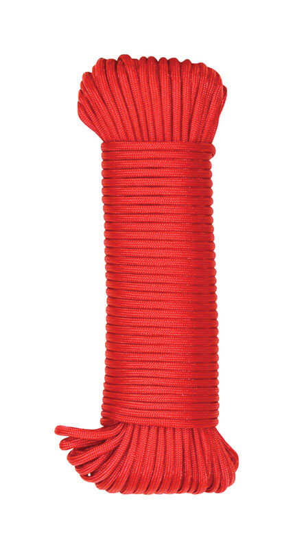 SecureLine  5/32 in. Dia. x 100 ft. L Red  Braided  Nylon  Paracord