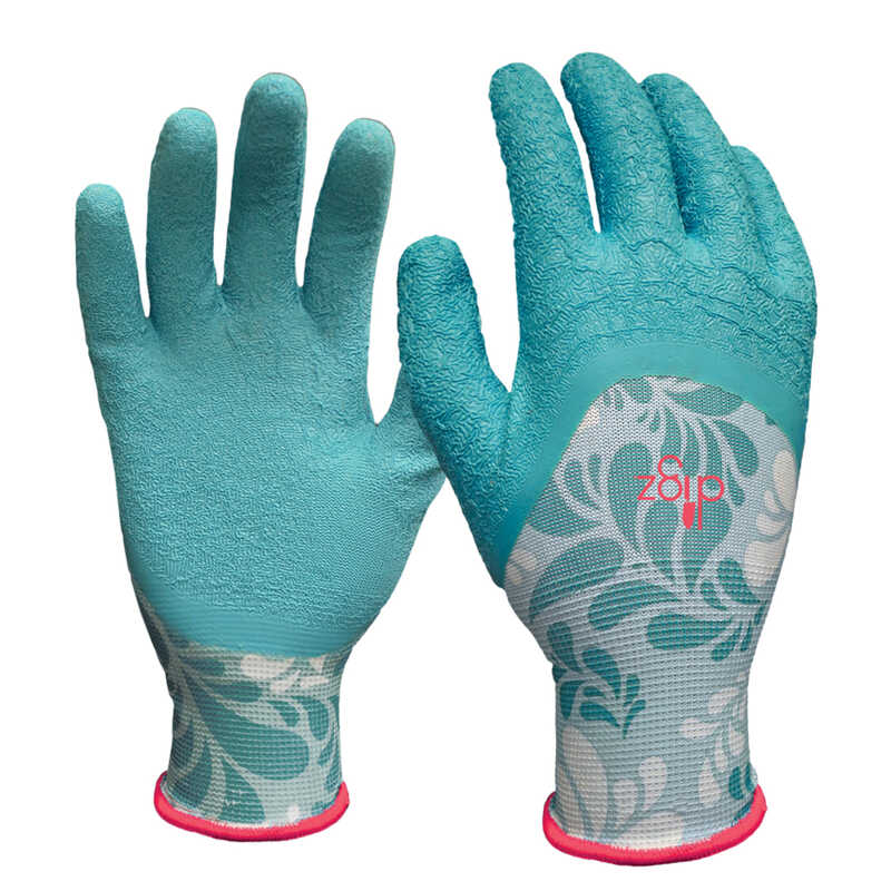 Digz  Women's  Indoor/Outdoor  Latex  Gardening Gloves  Blue  L  1 pk