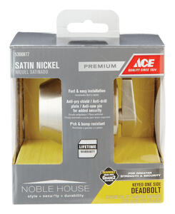 Ace  Satin Nickel  Single Cylinder Deadbolt