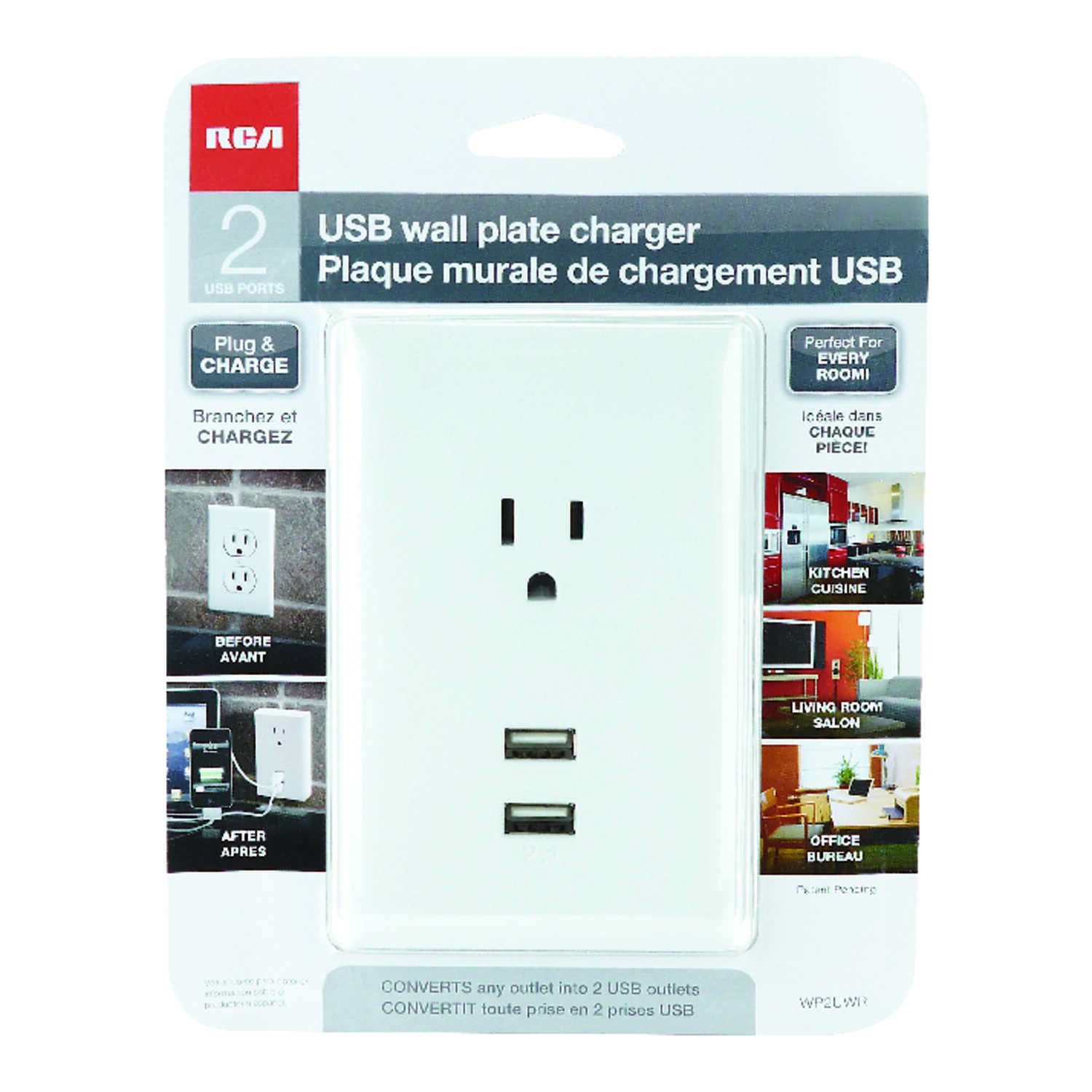RCA  2.1 amps 110 volts White  USB Charging Ports  1