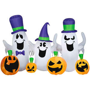 Gemmy  Ghosts and Jacks  Lighted Halloween Inflatable  84 in. H x 66 in. W x 7-7/8 in. L 1 pk