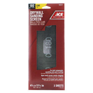 Ace  11-1/4 in. L x 4-1/4 in. W 180 Grit Fine  Silicon Carbide  Drywall Sanding Screen  2 pk