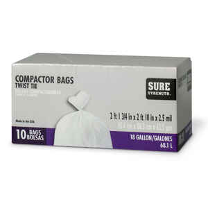 Sure Strength  18 gal. Compactor Bags  Twist Tie  10 pk