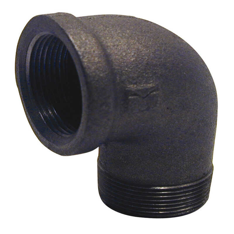 B & K  1/2 in. FPT   x 1/2 in. Dia. MPT  Black  Malleable Iron  Street Elbow