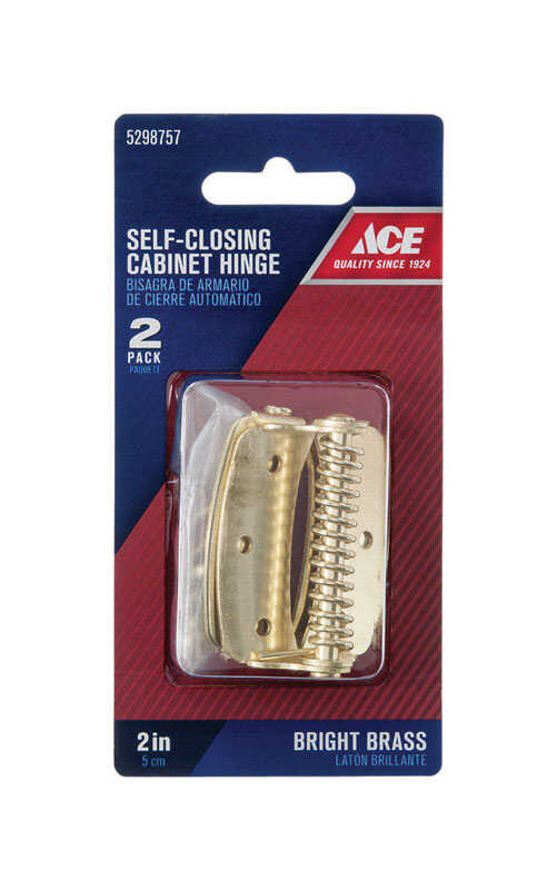 Ace  2 in. L Bright Brass  Cabinet Hinge  2 pk