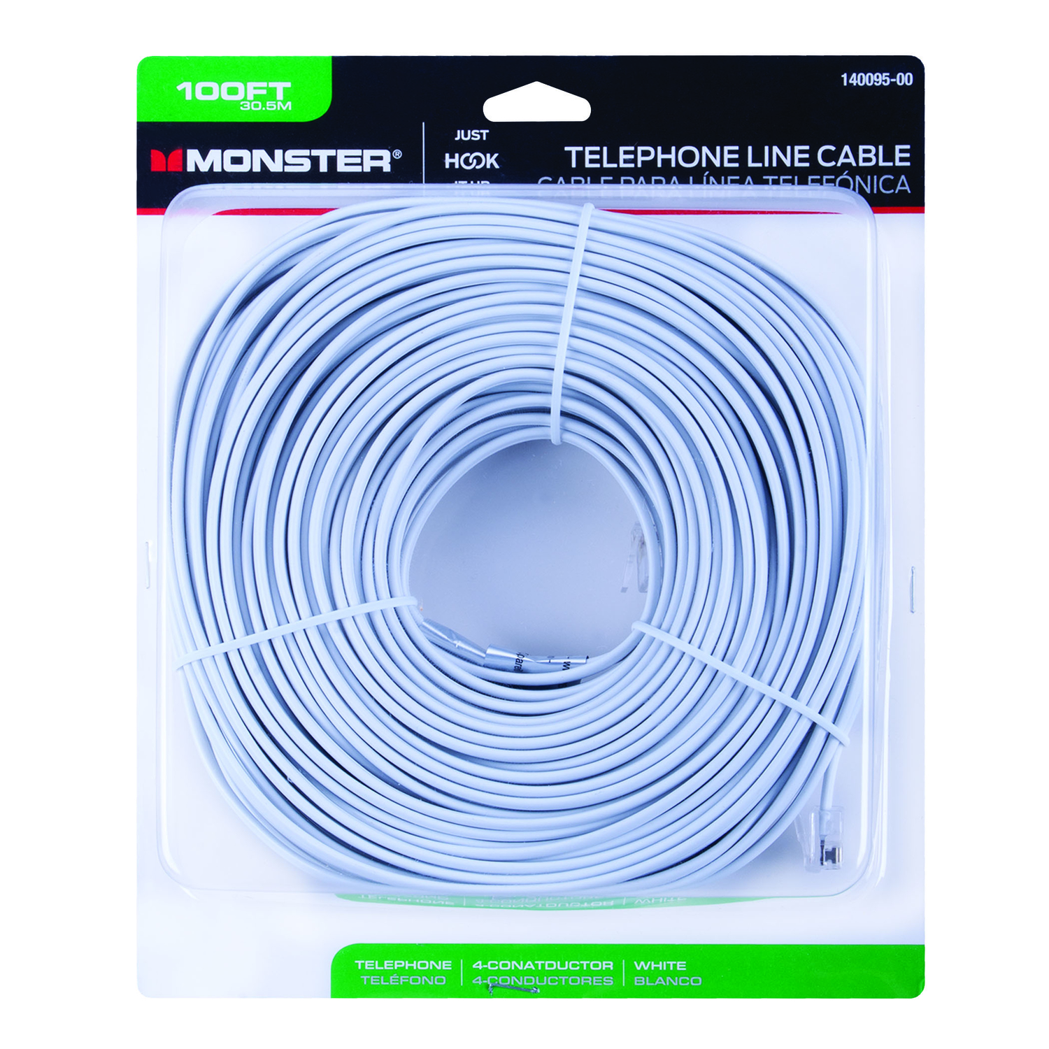 Monster Cable 100 ft. L White Modular Telephone Line Cable - Ace ...