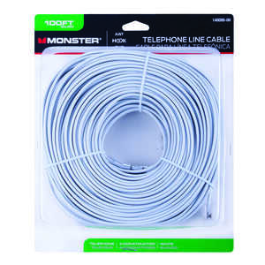 Monster Cable  100 ft. L White  Modular Telephone Line Cable