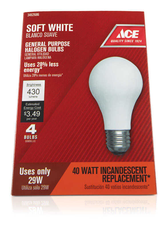 Ace  29 watts A19  A-Line  Halogen Light Bulb  310 lumens Soft White  4 pk