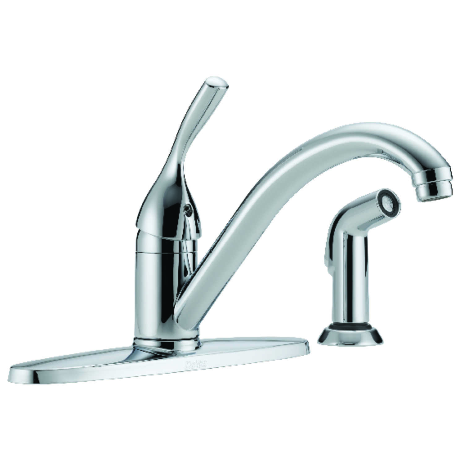 Delta  Classic  One Handle  Chrome  Kitchen Faucet  Side Sprayer Included