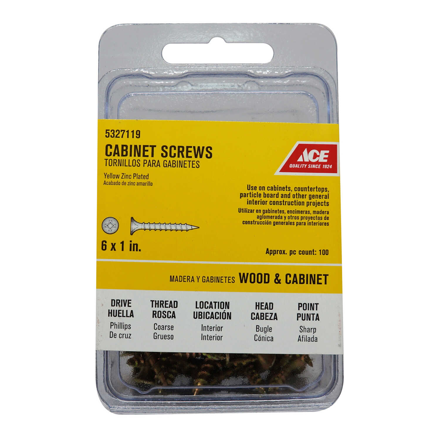 Ace  No. 6   x 1 in. L Phillips  Bugle  Yellow Zinc-Plated  Steel  100 pk Cabinet Screws