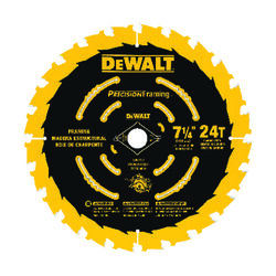 DeWalt  7-1/4 in. Dia. x 5/8 in.  Precision Framing  Carbide Tipped  Circular Saw Blade  24 teeth 1