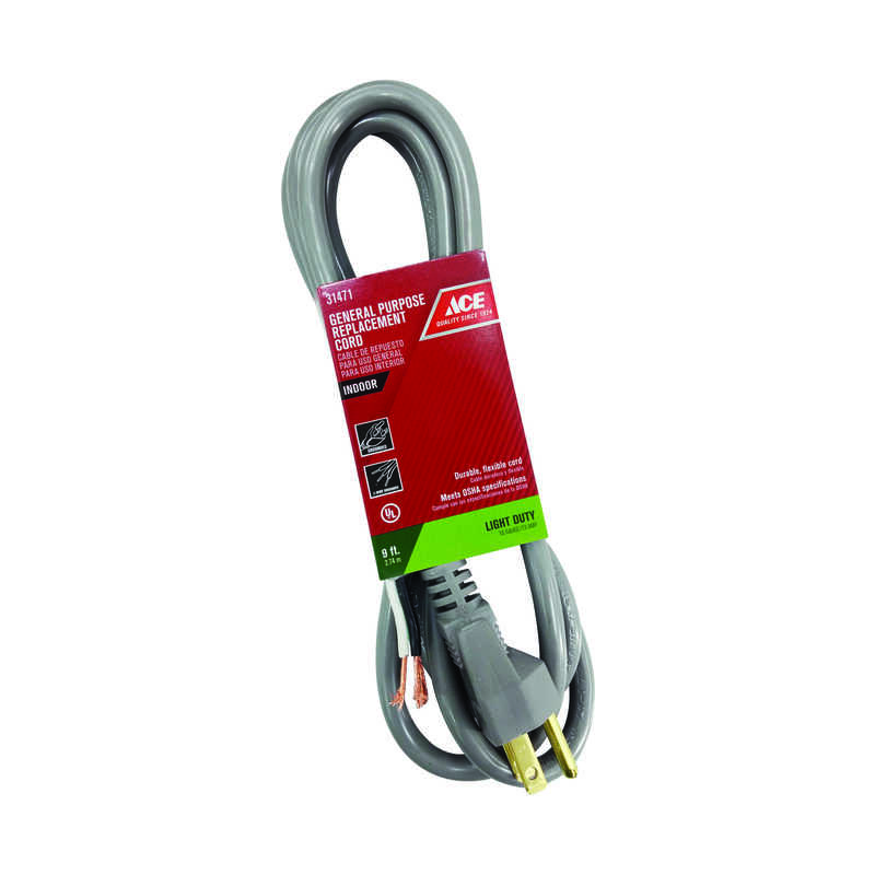 Ace  125 volt 9 ft. L Appliance Cord  16/3 SJTW