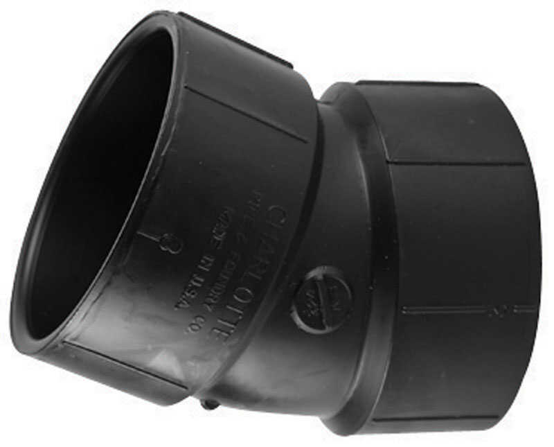 Charlotte Pipe  2 in. Hub   x 2 in. Dia. Hub  ABS  22-1/2 Degree Elbow