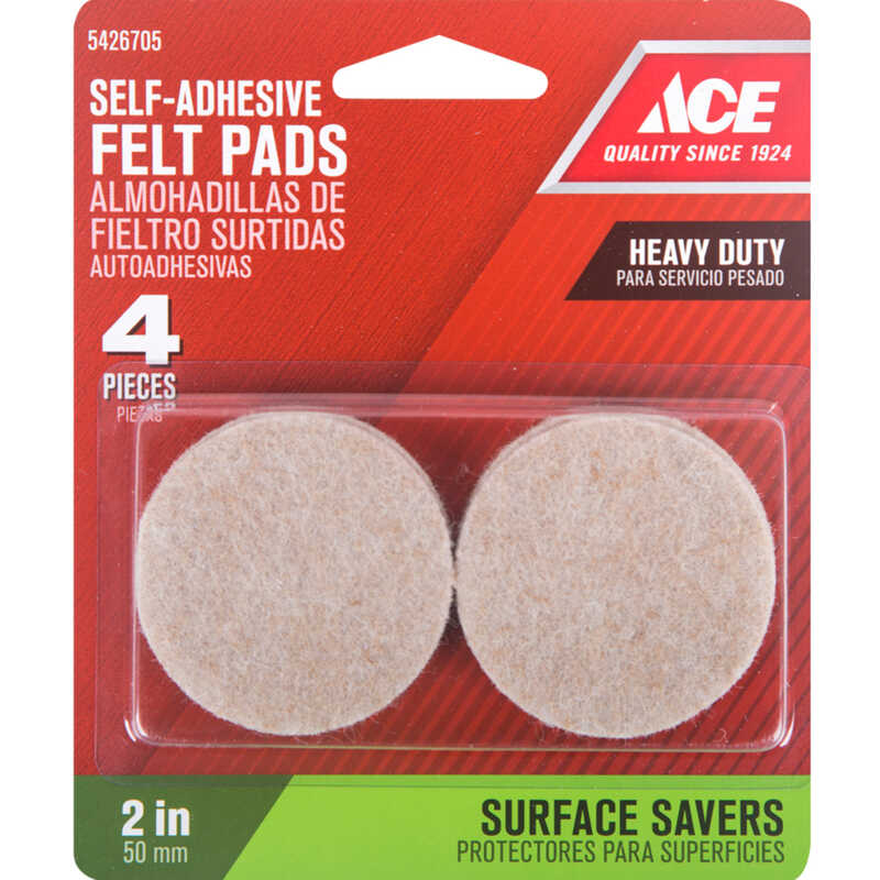 Ace  Felt  Pad  Brown  2 in. W 4 pk Self Adhesive Round