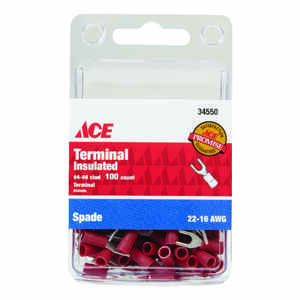 Ace  Insulated Wire  Spade Terminal  Red  100 pk