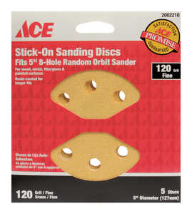 Ace  5 in. Adhesive  Sanding Disc  120 Grit Fine  5 pk Aluminum Oxide